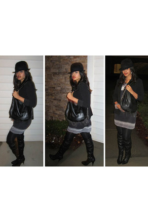 The Limited blazer - Aldo boots - French Connection dress - Forever 21 tights