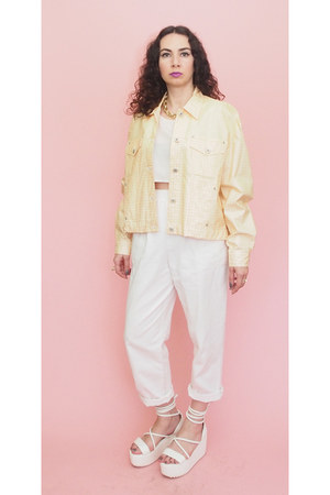 peach gingham 90s vintage jacket - white 80s Vintage pants