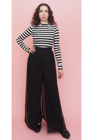 black layered 90s vintage pants - black flatform Cheap Monday shoes