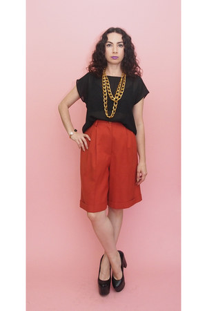 black sheer 80s Vintage top - burnt orange culottes 90s vintage shorts