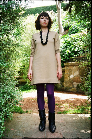 beige Vans dress - purple Forever21 tights - black vintage boots
