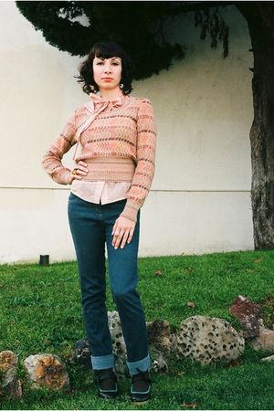 pink thrifted Missoni sweater - pink Forever21 blouse - blue Karen Walker jeans