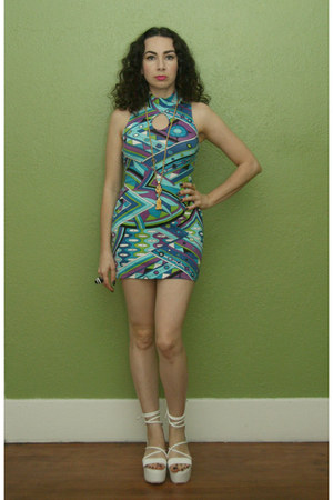 turquoise blue pucci print vintage 90s dress