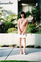 orange vintage dress - beige Steve Madden shoes - white vintage purse