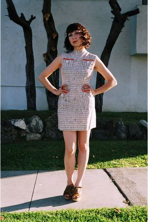 white vintage dress - beige 8020 shoes