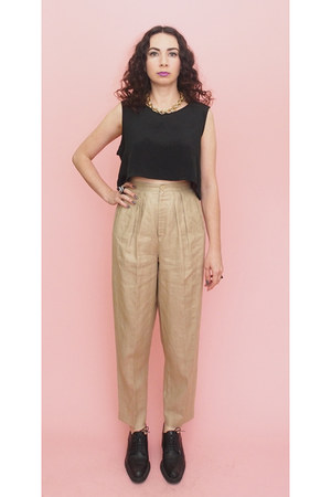 black 90s vintage shoes - tan pleated 80s Vintage pants