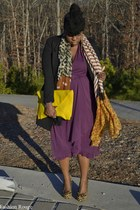 magenta plum vintage dress - black H&M blazer - Know Style scarf