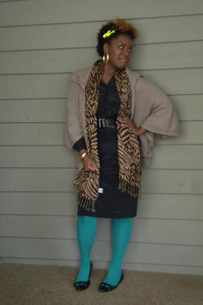 thrift dress - Forever 21 cardigan - Target tights - Target shoes - Walmart acce