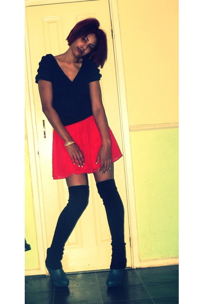 forest green Office boots - black H&M socks - red H&M skirt - navy wool apricot