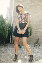 floral apricot top - tulle Max C dress - studs Clothing  Tesco bag