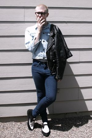 black D&G glasses - black via Goodwill jacket - blue vintage LIZWEAR jacket - si