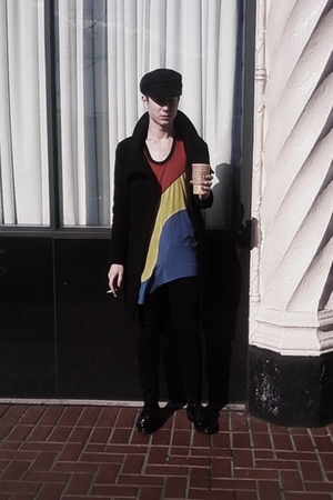 black my Dads vintage hat - yellow Brian Lichtenberg dress - black TV TOKYO coat