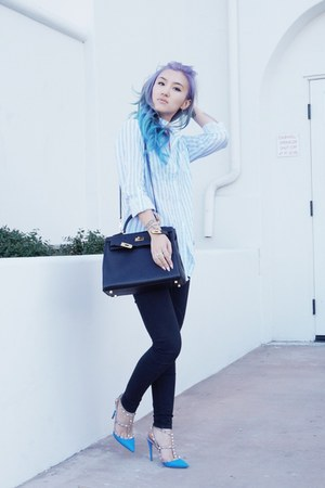 sky blue Valentino shoes - black Hermes bag