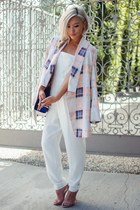 light pink cmeo collective blazer - blue Hermes bag - white romper