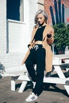 tan jacket - black American Apparel top - black asoscom pants