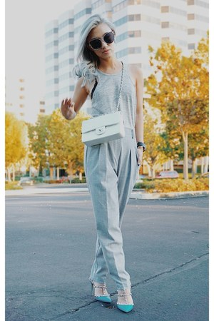 white Chanel bag - gray t by alexander wang top - blue Valentino pumps