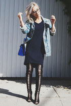 black Jessica Buurman boots - navy Uniqlo dress