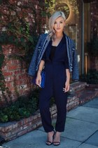 navy TWEED JACKET jacket - navy Hermes bag - navy jumpsuit romper