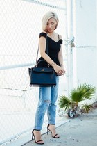 black Hermes bag - blue Topshop jeans - black stuart weitzman heels - black top