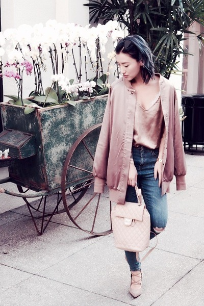 tan ARISSA-X jacket - navy Topshop jeans - tan Chanel bag