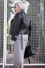 Heather-gray-2-pc-rib-set-dress-black-saint-laurent-jacket