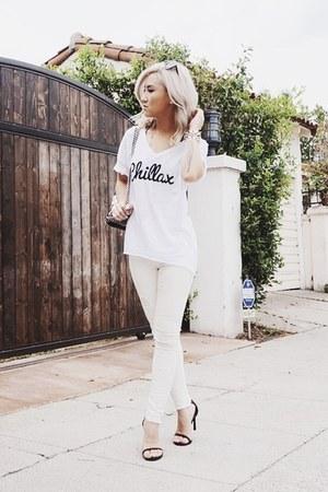 white Stella McCartney bag - ivory Topshop jeans - black stuart weitzman heels