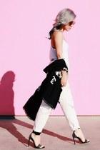 black Chanel scarf - black Saint Laurent sandals