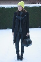 black Zara boots - black Zara coat - lime green H&M hat - black Furla bag