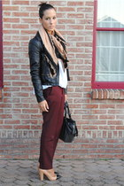 white Zara sweater - black River Island jacket - nude Zara scarf