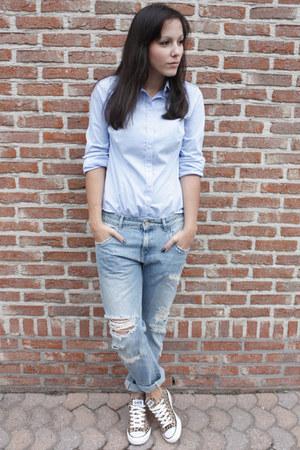sky blue Zara jeans - sky blue Zara shirt - light brown Converse sneakers