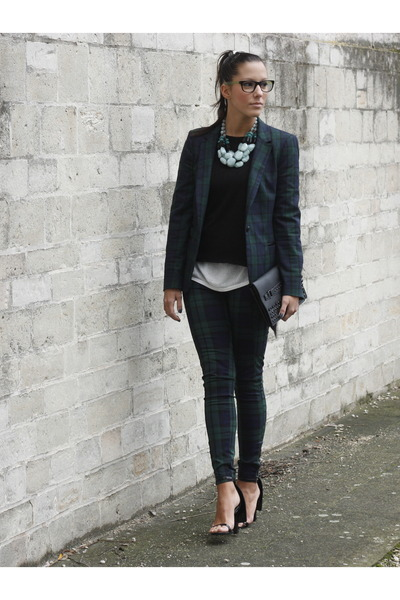 green Zara blazer - black Bershka bag - green Zara pants