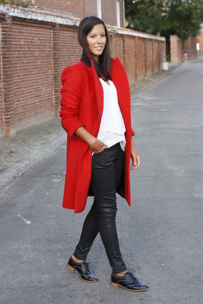 red Zara coat - white Zara blouse - black Zara pants - black Zara flats