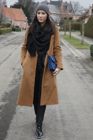 black Louis Vuitton scarf - brown Zara coat - charcoal gray ComeGetFashion hat