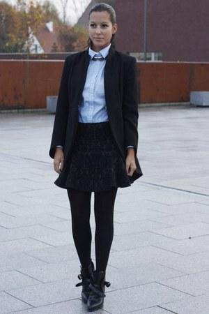 black Zara boots - black Zara coat - silver Zara necklace