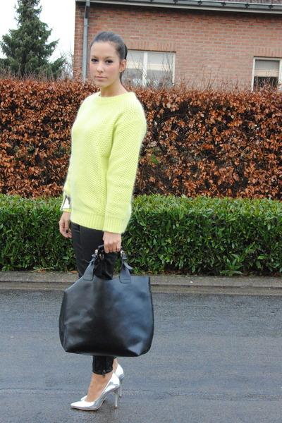 ffb8ed7c7df lime green romwe sweater - black romwe bag - black H M pants