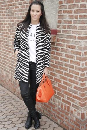 black H&M boots - black Zara coat - carrot orange Zara bag - white Etsy t-shirt