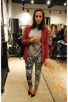 blue Zara pants - brick red H&M Trend blazer - silver Zara jumper