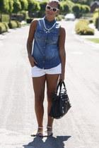 white Zara shorts - black balenciaga bag - white H&M necklace - blue H&M blouse