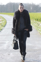 light brown Zara blazer - black Zara boots - navy Zara coat - black Zara jeans