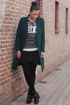 black Zara boots - forest green H&M coat - heather gray Zara sweater