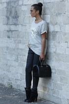 black Zara boots - black Furla bag - black Zara pants - silver Romwecom blouse
