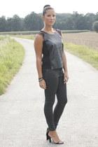 black Zara jeans - black Zara blouse - black Alexander Wang heels