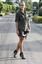 black Zara boots - black romwe bag - black Zara skirt - olive green Zara blouse