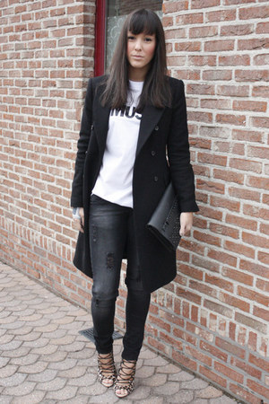 black Zara coat - black Zara jeans - black Bershka bag - white acne top