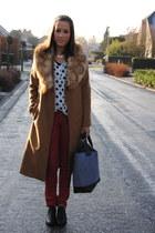 brown Zara coat - black VJ-style boots - bronze H&M scarf