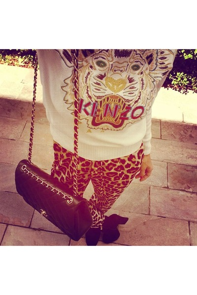 Kenzo sweater - black Chanel bag - brown Forever 21 pants