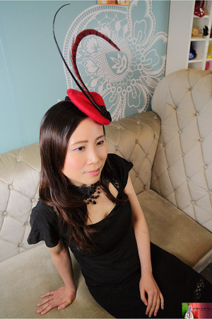 black Iblues dress - red Angel Wong Image hat - black from Korea necklace