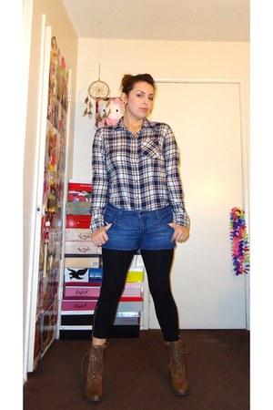 Forever21 blouse - Forever 21 shorts - Forever21 boots - Forever21 leggings