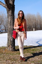 brown vintage shoes - salmon H&M blazer - red vintage bag - light pink skinny H&