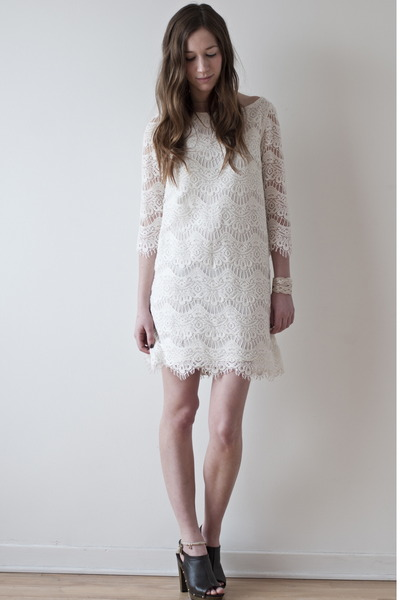 white lace Zara dress - dark brown Payless heels